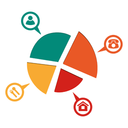 4 partes piechart con iconos