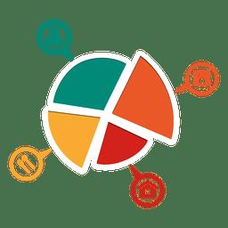 4 Teile Tortendiagramm mit Symbolen