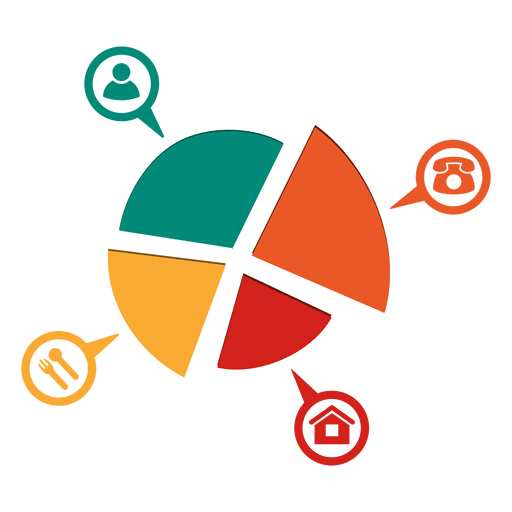 4 parts piechart with icons