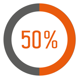 50 percent orange ring infographic