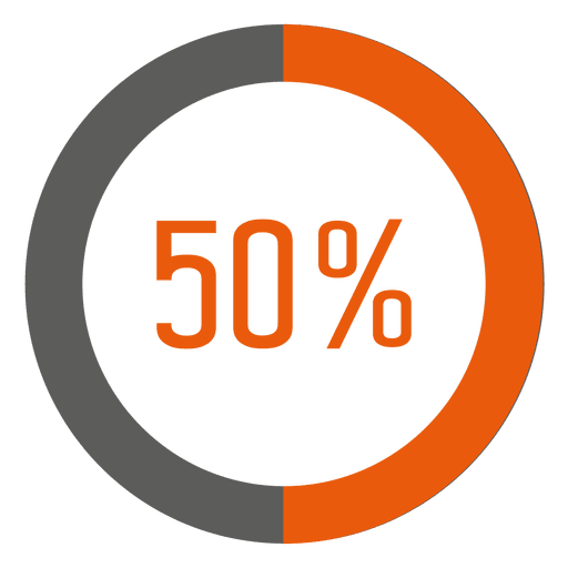 50 percent orange ring infographic Transparent PNG