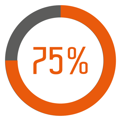 75 percent orange ring infographic Transparent PNG
