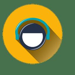 Icono de agente de círculo de auriculares