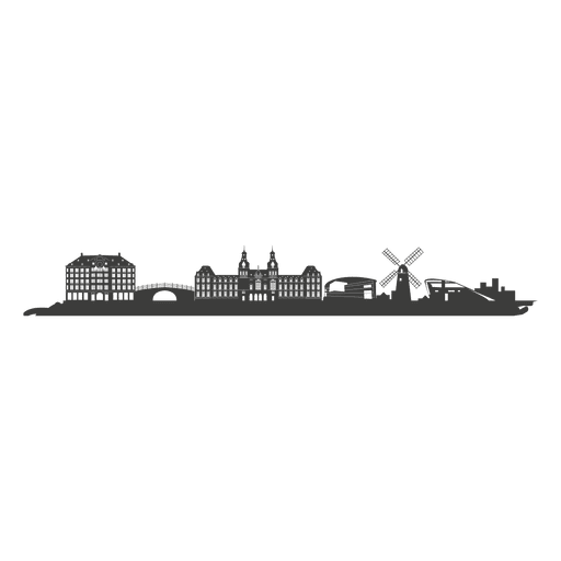 Amsterdam skyline silhouette Transparent PNG