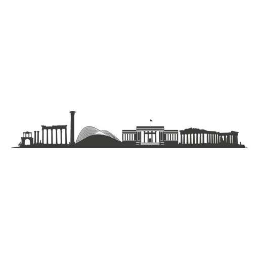 Athens skyline silhouette Transparent PNG