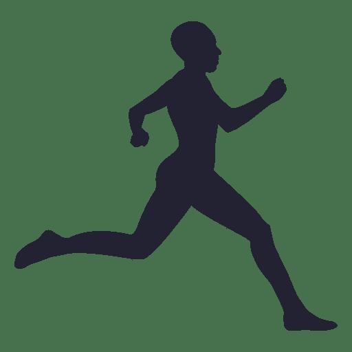 Atleta corriendo silueta en azul