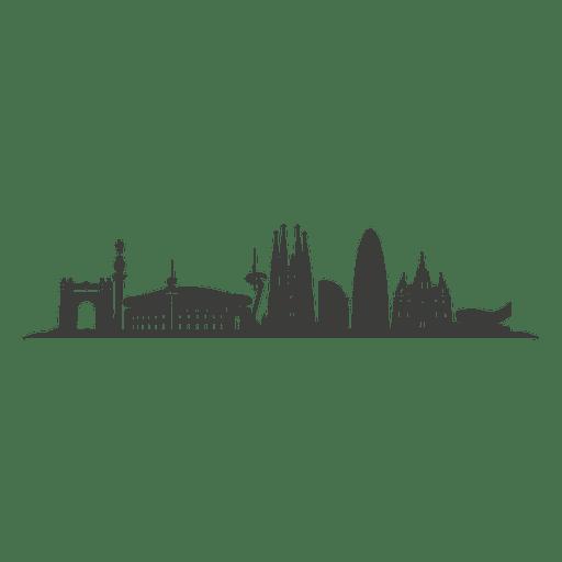 Silueta del horizonte de barcelona Transparent PNG