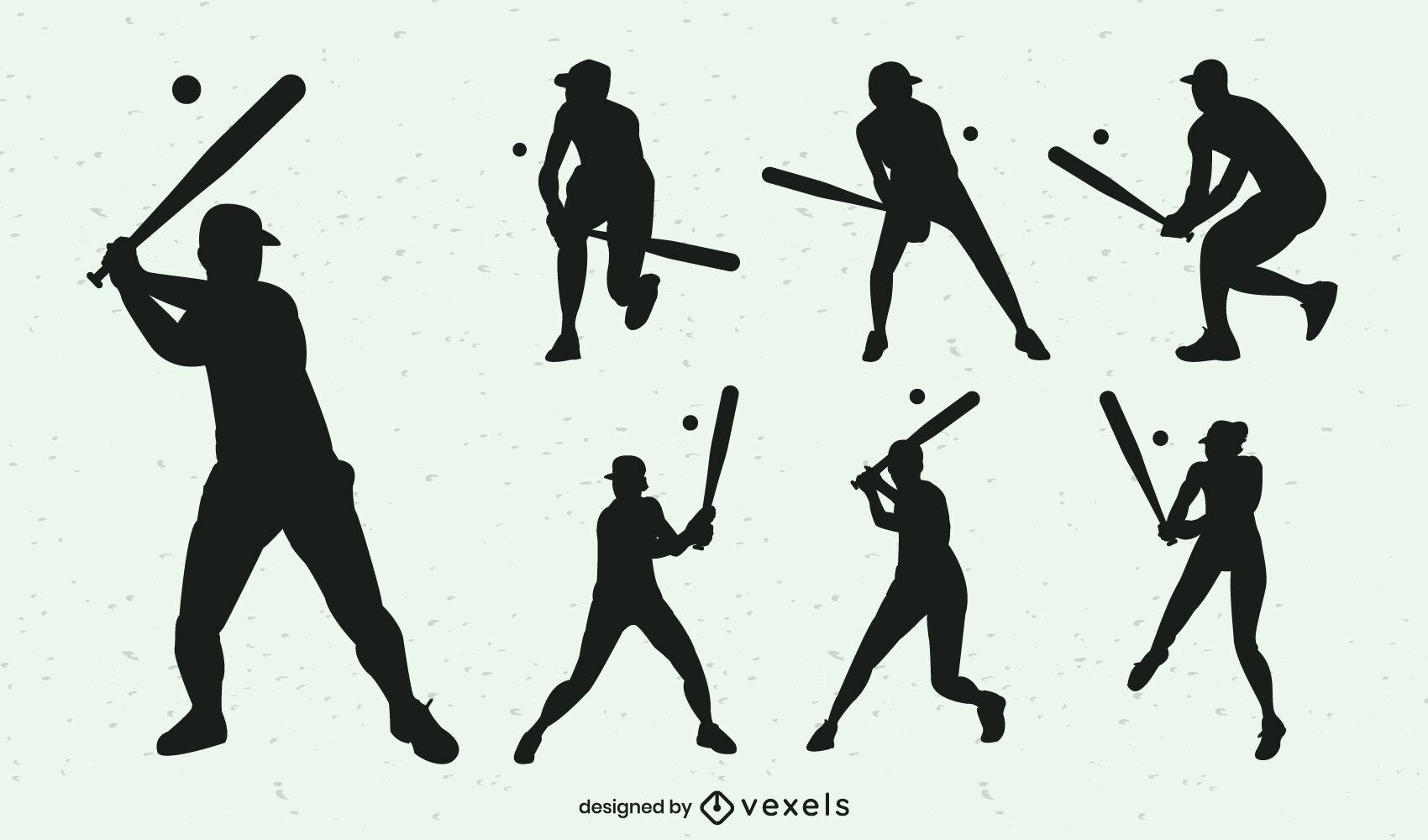 Baseball batting position silhouettes