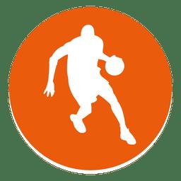 Icono de círculo de jugador de baloncesto
