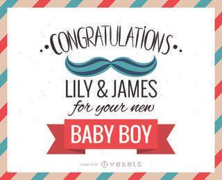 Nuevo fabricante de la tarjeta de felicitación enhorabuena del bebé