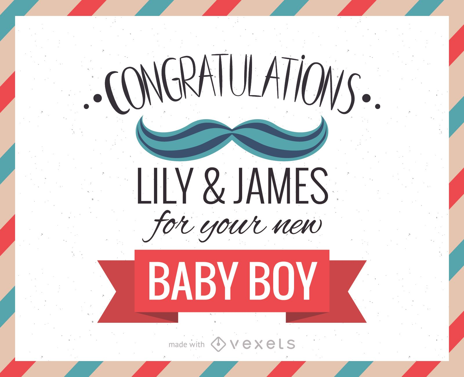 New Baby Congratulations Greeting Card Maker Editable Design