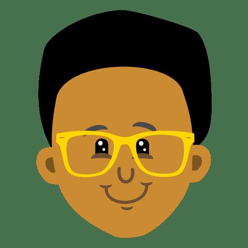 Cabeza de avatar de dibujos animados de chico negro