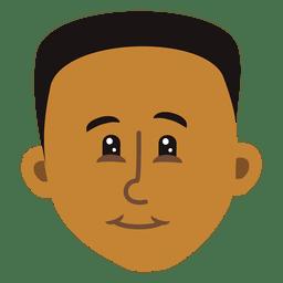 Cabeça de desenho animado de menino negro