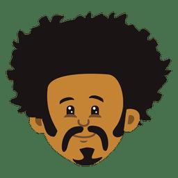 Flat black man cartoon head