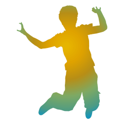 Colorful boy jumping silhouette