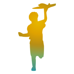 Boy playing toy silhouette