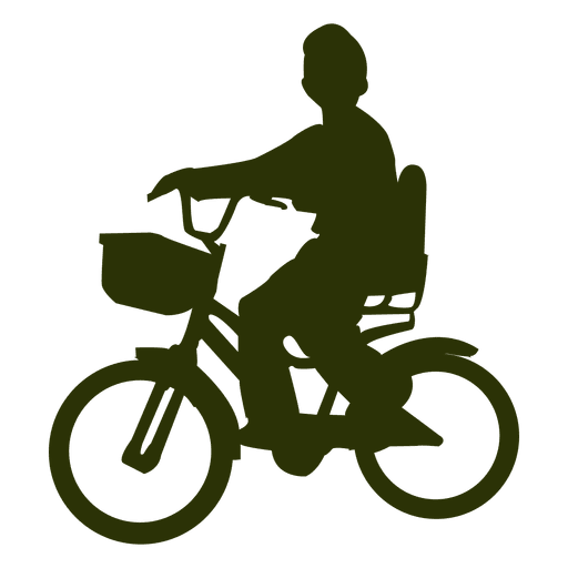 Chico montando bicicleta silueta