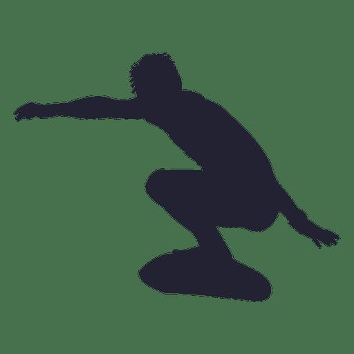 Boy surfing silhouette