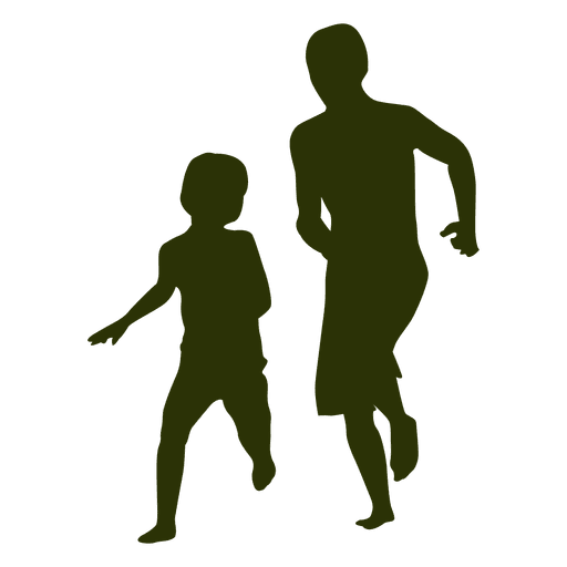 Niños jugando silueta