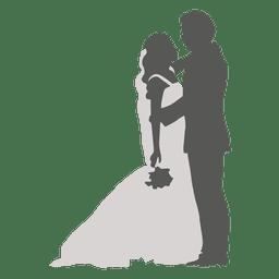 Noiva noivo namorando a silhueta