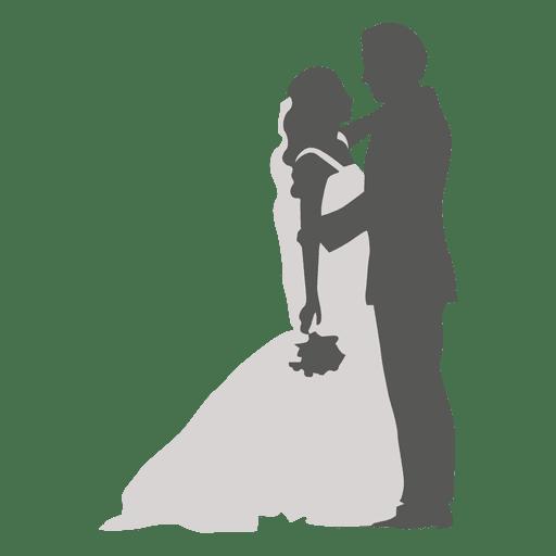 Bride groom romancing silhouette Transparent PNG