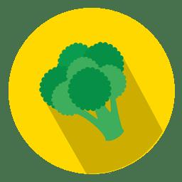 Icono de círculo plano de brócoli