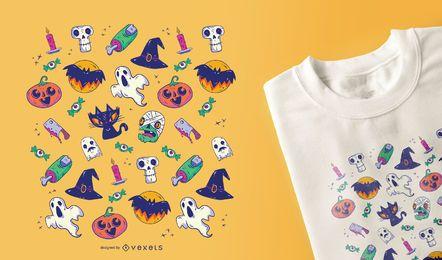 Diseño de la camiseta del patrón de Halloween