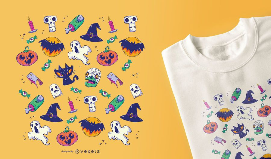 Projeto do t-shirt do teste padrão de Dia das Bruxas