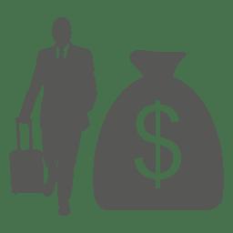 Icono de bolsa de dólar de viaje de negocios