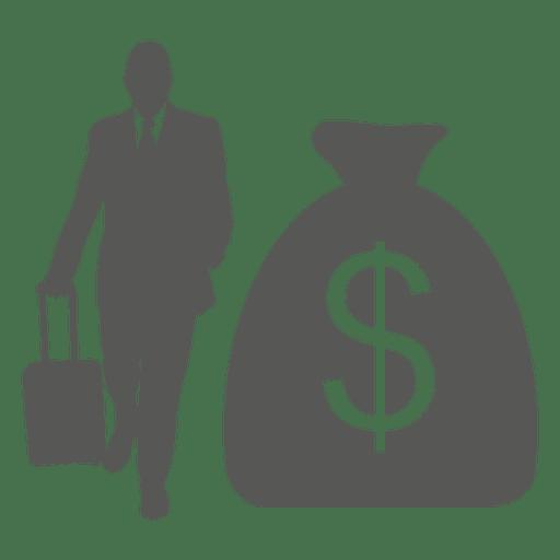 Business tour dollar bag icon