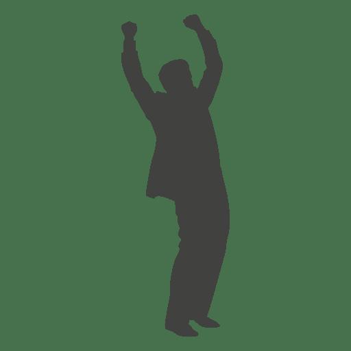 Businessman celebrating silhouette Transparent PNG