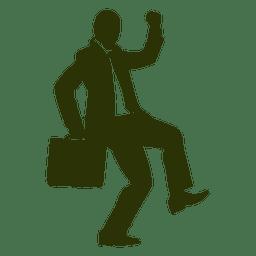 Homem negócios, celebrando, silueta, 3