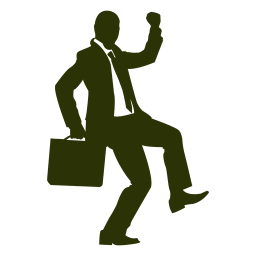 Businessman celebrating silhouette 3 Transparent PNG