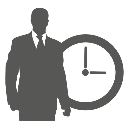 Businessman in front clock Transparent PNG