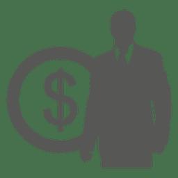 Hombre de negocios en icono de la moneda frente