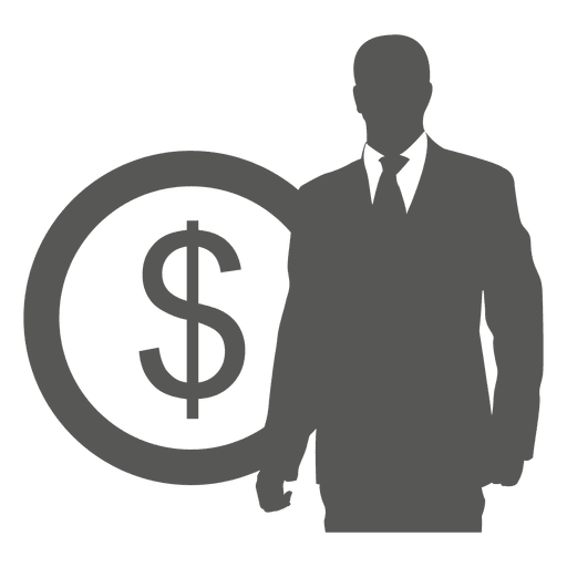 Businessman in front coin icon Transparent PNG