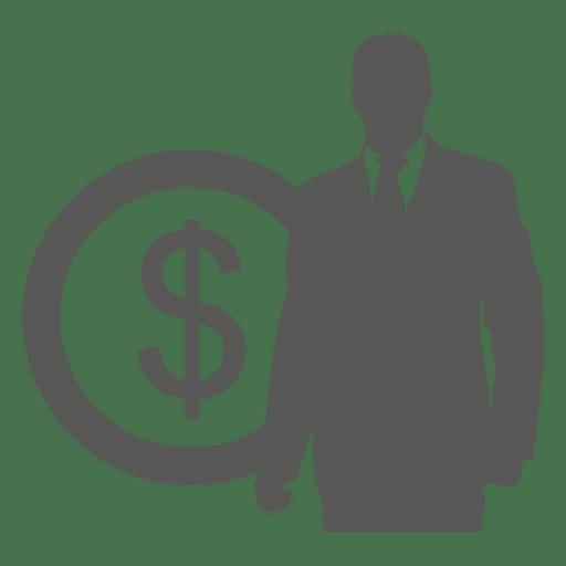 Empresario en icono de moneda frontal Transparent PNG