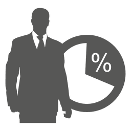 Empresario en icono de pie frontal