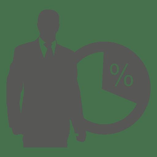 Businessman in front pie icon