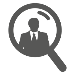 Empresario en el icono de lupa