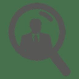 Empresario en icono de lupa