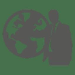 Kaufmann zeigenden Globus-Symbol