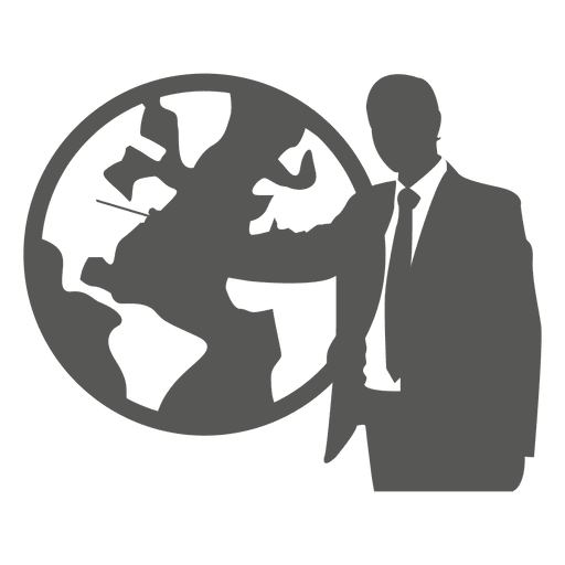 Businessman pointing globe icon Transparent PNG