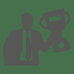 Homem negócios, levantamento, troféu, ícone