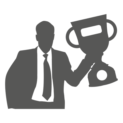 Hombre de negocios, levantar, trofeo, icono Transparent PNG