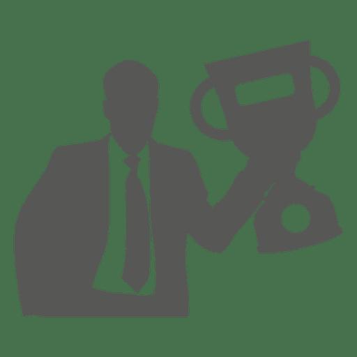 Homem negócios, levantamento, troféu, ícone Transparent PNG