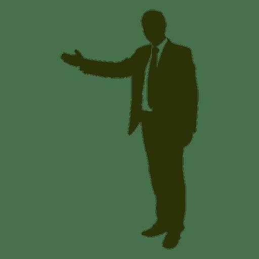 Homem negócios, mostrando, mão, silueta Transparent PNG