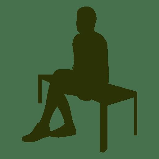 Hombre de negocios sentado banco silueta