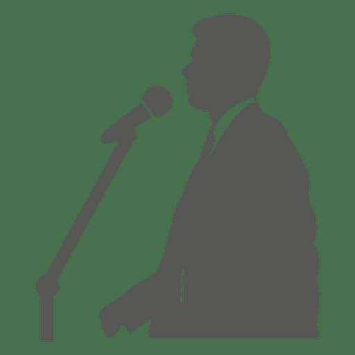 Businessman speaking on mic