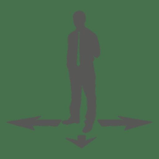 Businessman standing arrow direction